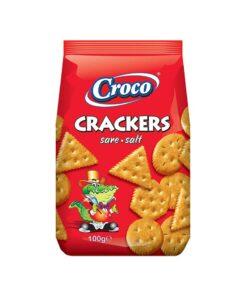 Biscuiti aperitiv Croco Crackers cu sare 100g
