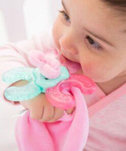 Jucarie inel dentitie tip C cu plus Roz