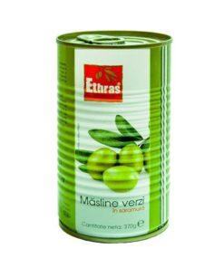 Ethras - Masline verzi intregi in saramura 370g