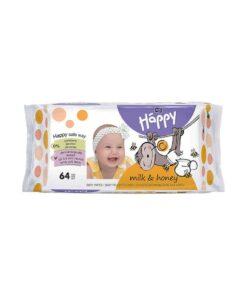 Servetele umede pentru bebelusi cu miere si proteine din lapte Happy 64 buc